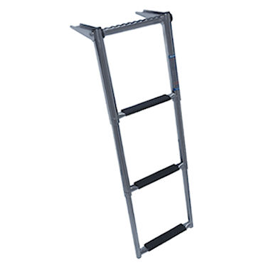 SMALL OVER PLATFORM TELESCOPING 3 STEP BOAT LADDER W/HAND GRIP WINDLINE TDL-3XP